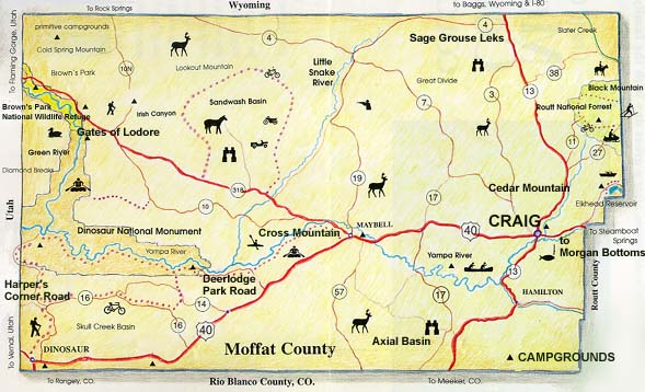 Map of Craig and Moffat County, Colorado